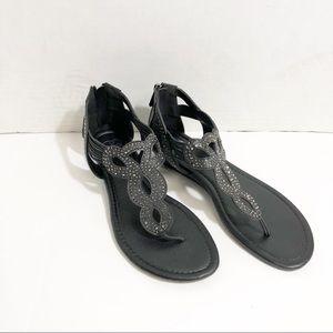 6089bdef56a Daisy Fuentes black rhinestone sandals Wide Width